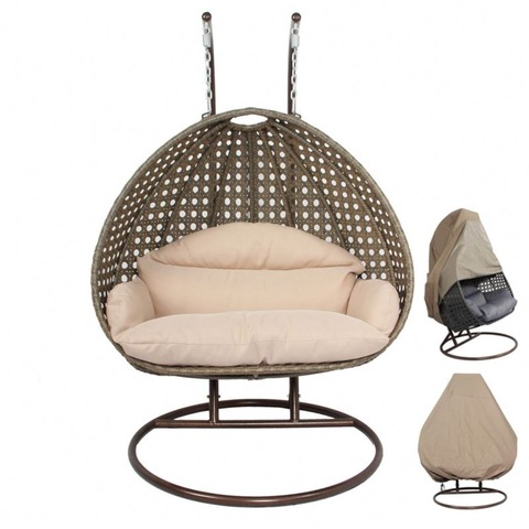 Commercial Outdoor Furniture 2 Person Hanging White Rattan Wicker Swing Chair