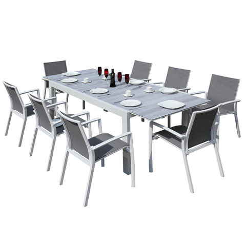 Commercial Residential Extensible dining table with 8 pieces modern design armchair Indoor Outdoor P