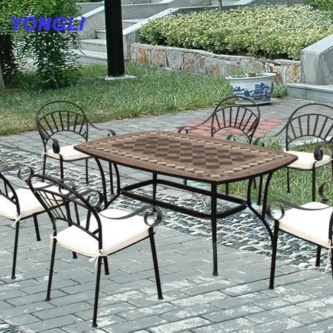 حديقة فسيفساء خزفية 5 قطع مجموعة أثاث الطعام فناء الخرسانة الحديد المعدني الأثاث في الهواء الطلق من الصين على Topchinasupplier Com