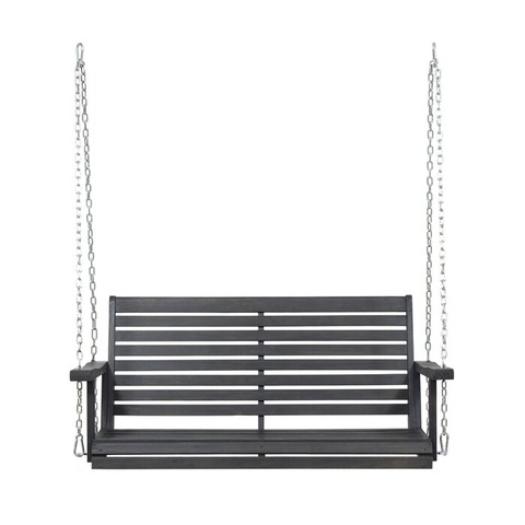 Heavy Duty Iron Metal Frame Garden Wrought Iron Swing Wooden Bench with Chain
