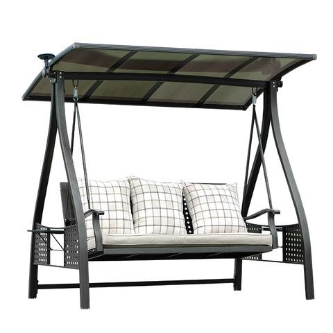 patio + buaian taman ayunan set pantai tenaga solar logam teras tempa aluminium 3 tempat duduk ayunan c