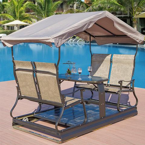 taman kerusi buaian 4 tempat duduk kerusi goyang bumbung teras luaran besi tempa teras besi