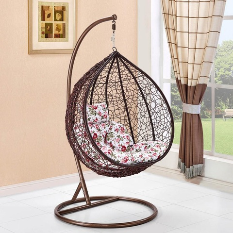 Indoor Bamboo Round Egg Hanging Garden Swings Chair For Bedroom With Metal Stand