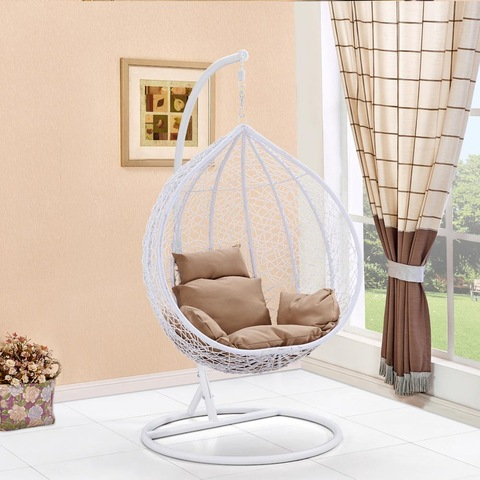 Outdoor Patio PE Rattan Swing Chair With Metal Frame Cheap Egg shaped Hanging Chair