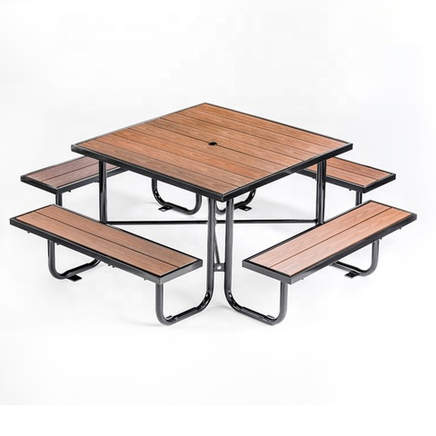 Factory Outdoor Steel dining table Patio Furniture Picnic Table With Bench