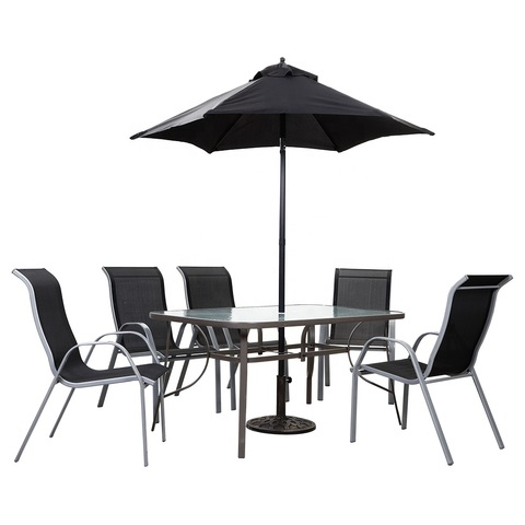High-end Garden Patio Furniture Stackable Chairs Outdoor Table Chair Set with Parasol