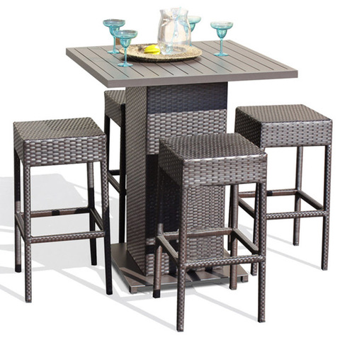 Hot Sale Exclusieve Outdoor Poly Rotan terrasmeubilair Mooi geweven rotan Outdoor Bar tafel set bont