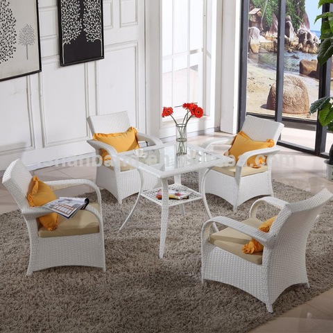 Indoor Outdoor Home Casual Patio White Resin Wicker Outdoor Furniture