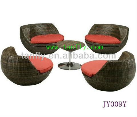 JY009Y Outsunny 5pc Outdoor Stacking Rattan Wicker Patio Set Cathedra