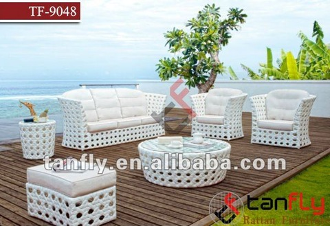 Okpokoro wicker na-acha ọcha na-acha ọcha sofas rattan patio furniture