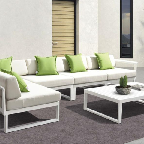Modern Outdoor Patio Gaart Miwwel Sofa an Dësch Set fir Hoteler a Resorts