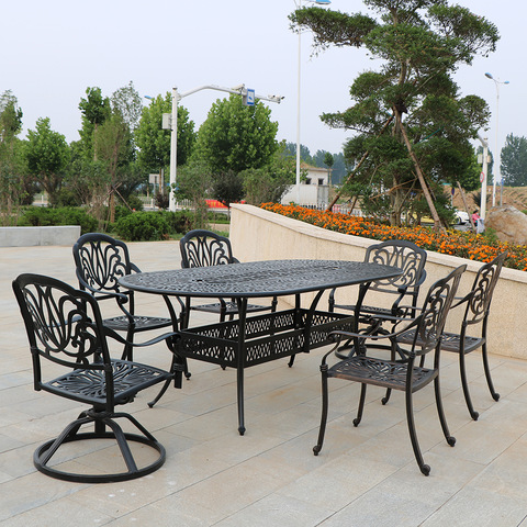 N'èzí Cast Aluminum Patio ngwá ụlọ 7 Piece Dine Set
