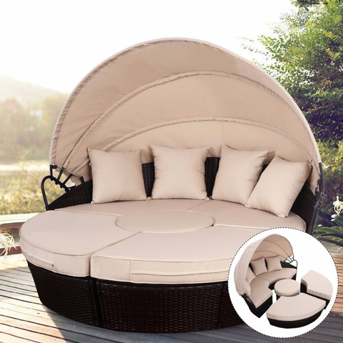 Outdoor Daybed Patio Sofa Furniture Brown pictures & photos