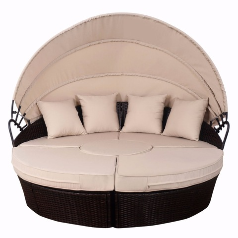 Ita gbangba Daybed Patio Sofa Furniture Brown