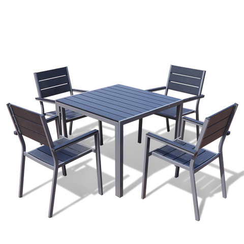 Outdoor furniture 5pcs aluminum plastic wood garden patio table and chairs dining sets leisure squar
