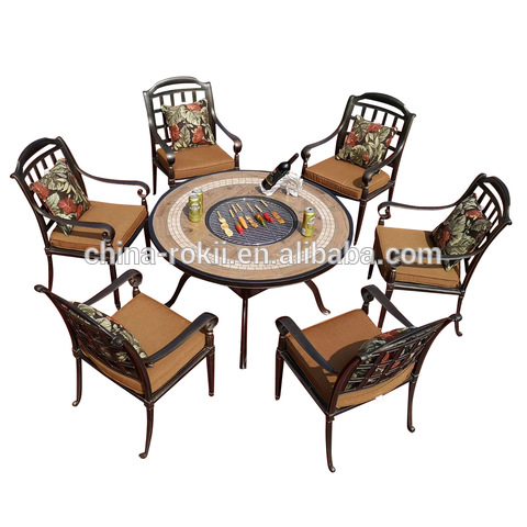 Patio cast aluminum chairs dining sets with BBQ table furniture pictures & photos