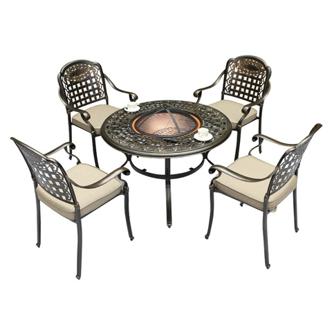 Patio cast aluminum chairs dining sets with BBQ table furniture