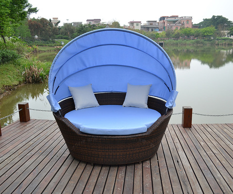 Sêwirana Simple Patio Rattan Outdoor Furniture Garden Sun Chaise Lounge