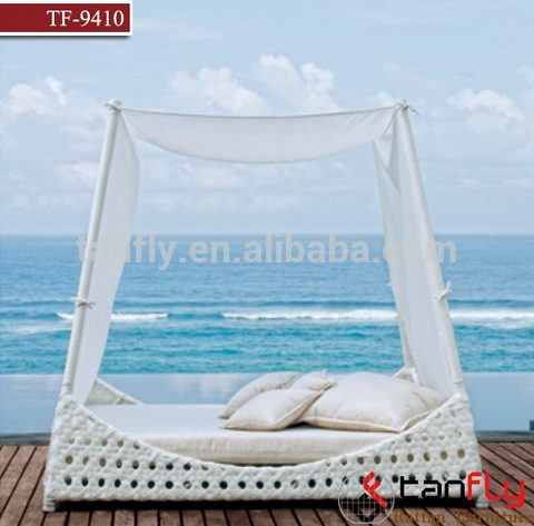Stylish rattan wicker sun bed with canopy beach patio best choice