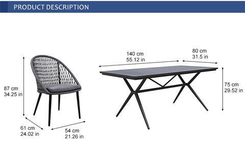 meja taman luaran patio aluminium dengan kerusi tali untuk teras & gambar perabot hotel
