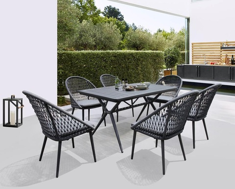 aluminum patio outdoor garden table set with rope chair for deck terrace hotel furniture