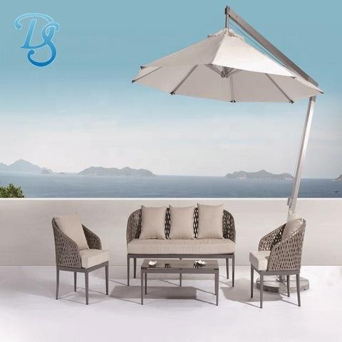 ubi sofas rattan ngwá ụlọ aluminom etiti n'èzí arịa ụlọ sofa patio sofa set with side pole