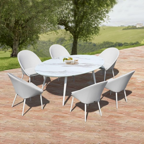 hotel Aluminum Ceramic tempered glass patio outdoor table chair garden outdoor furniture pictures & photos