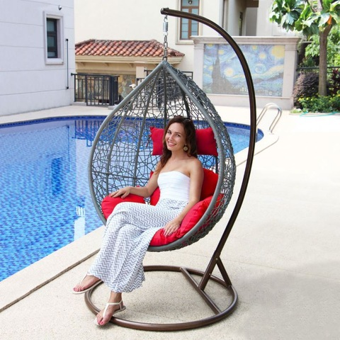 Courtyard Playground Rattan Patio Outdoor Wicker Swing Chair Menggantung Telur