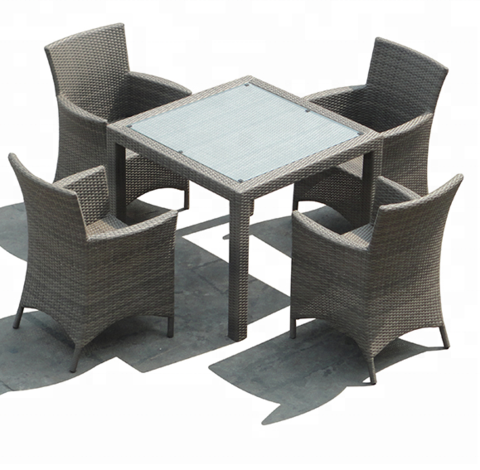 Aluminium frame rattan table and chairs with wicker drawers