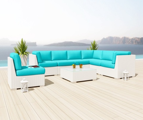 wicker patio aga modular rattan sofa ṣeto