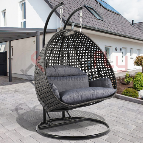 Muebles de exterior China Rattan Double Home Garden para adultos Jhula Swing Chair Inside