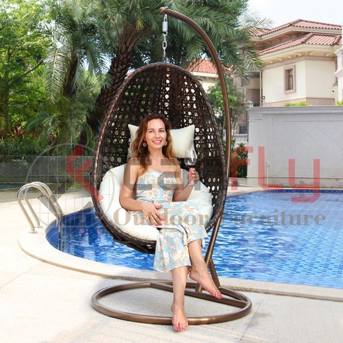 Outdoor indoor furniture elegant rattan wicker leisure swing basket chair