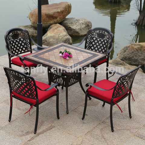 Patio Outdoor Garden Furniture Cast Aluminum Chairs and Table set