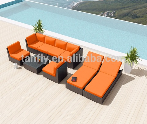 Wicker Poly Rattan Patio ავეჯის გარე Lounge Sofa Set