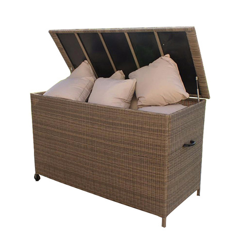Durable large waterproof outdoor garden rattan storage cushion box
