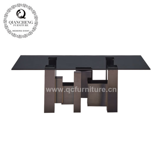 China Living Room Furniture Mirror Black Glass Coffee Table Center