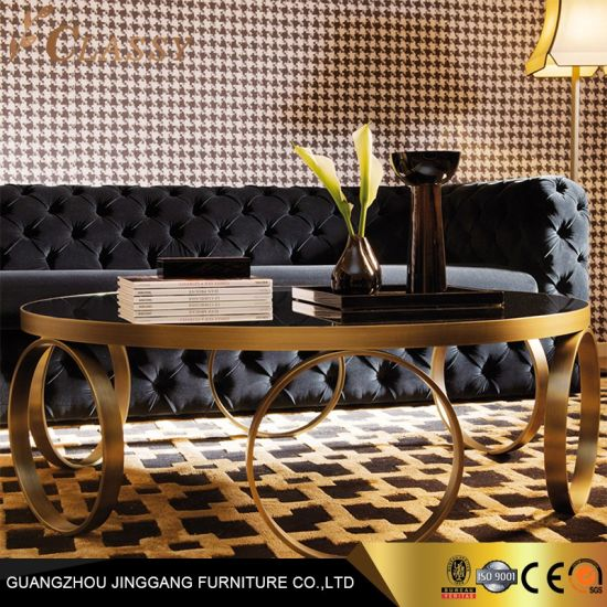 China Modern Luxury Round Black Glass Coffee Table With Golden