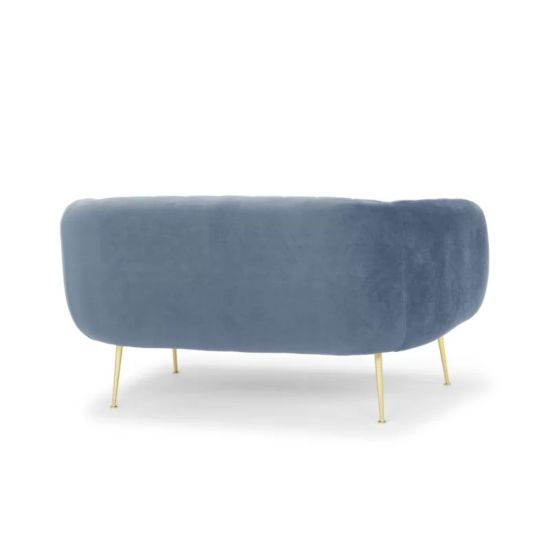 China Modern Design Home Dark Blue Velvet Channeled 2 Seat Wooden Sofa Bedroom Lounge Couch Living Room Sofa From China On Topchinasupplier Com