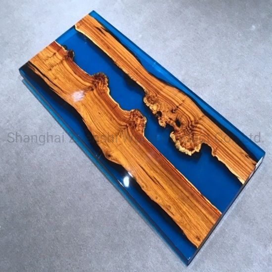 China Live Edge Slab River Table With Epoxy Filled Dining Table