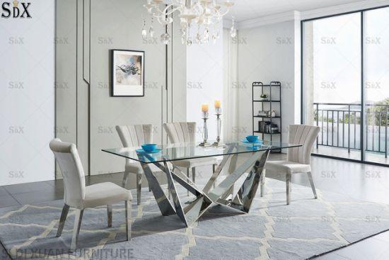 الصين الحديثة تصميم الفولاذ المقاوم للصدأ أثاث المنزل الزجاج أعلى أثاث غرفة الطعام تعيين طاولة طعام طاولة طعام من الصين على Topchinasupplier Com