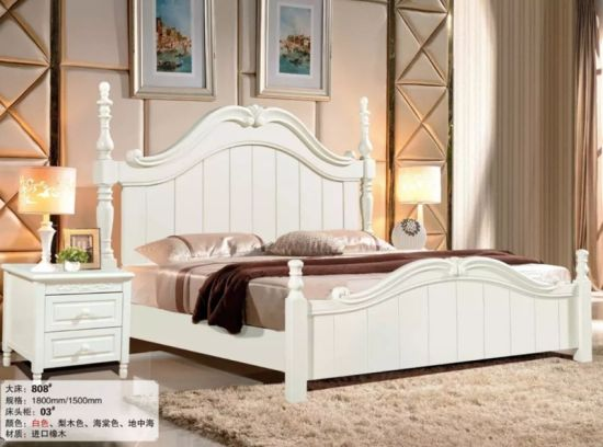 China New Product Wood Bedroom Set Solid Wood Luxury King Bed