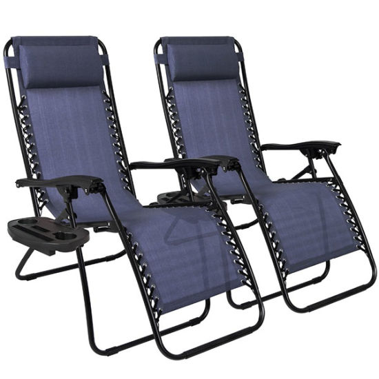 China Portable Sun Bed Beach Chair Folding Patio Lounger Chair Ergonomic Zero Gravity Chair with Cup