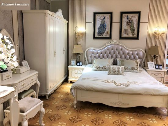 China Luxury Solid Wood Home Bedroom Furniture With Wardrobe