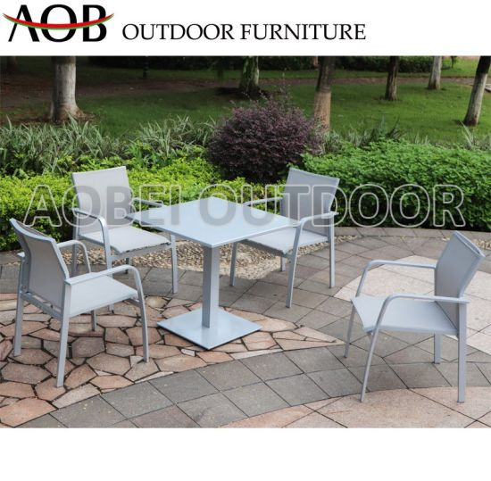 China Modern Chinese Outdoor Garden Home Hotel Resort Restaurant Cafe Stackable Textilene Dining Cha