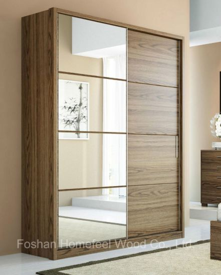 China Fashion Home Furniture 2 Sliding Mirror Doors Mdf Wooden