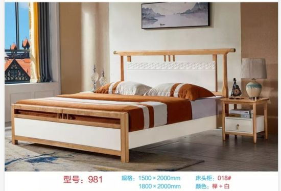 China Queen Size Solid Wood Double Bed Frame Designs With