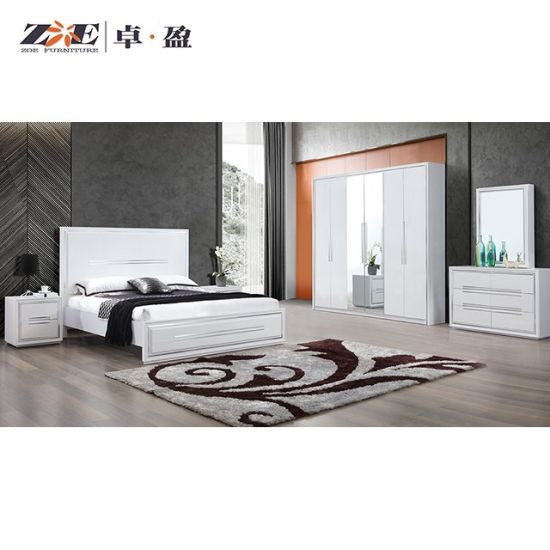 China King Size Bedroom Furniture High Glossy White Bedroom Set