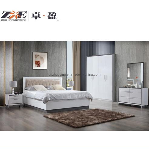 China Modern Design High Glossy Painting Double Bed Designs