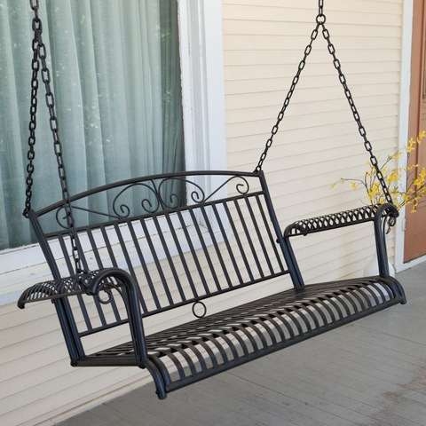Amazon Top-Selling Black Outdoor Garden Iron Frame Porch Swing Sets Adults Bench with Chain