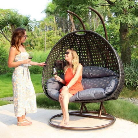 Indoor Outdoor Furniture With Metal Swing Chair Hanging Egg Stand